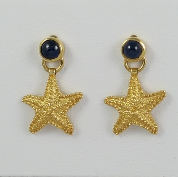 14kt Yellow Gold Starfish Earrings w 4.0mm Cabachon Saphire inset Ball Post