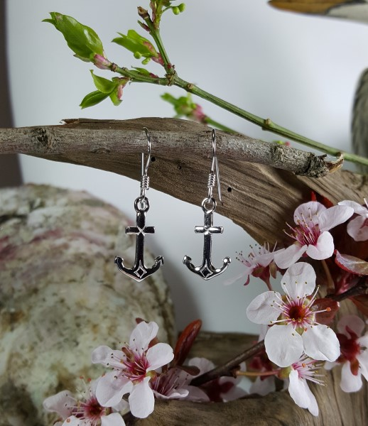 Anchor Earrings Sterling Silver 5/8 inch French wire